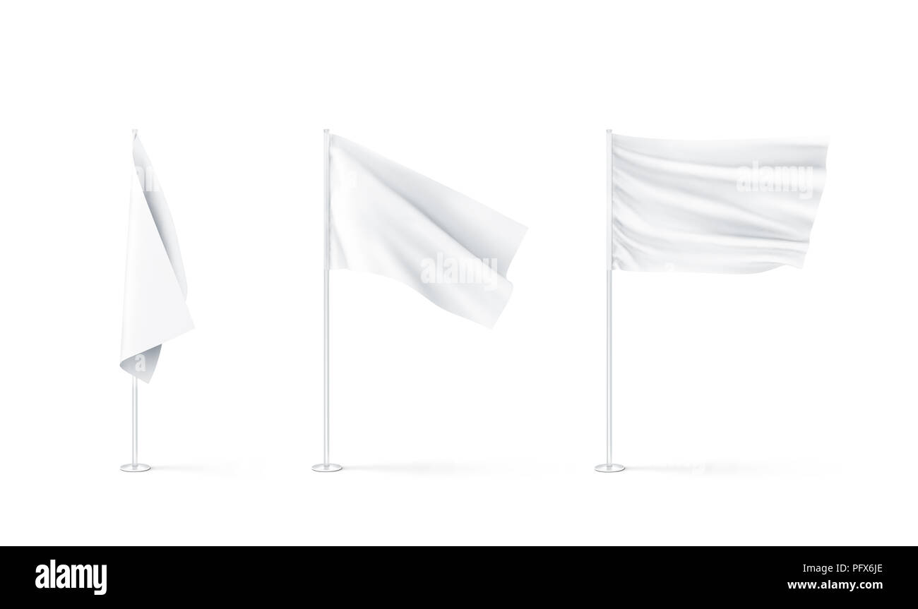 Blank white flags mockup set, plain and waving, 3d rendnering. Clear rippled flagpole design mock up. Pole with banner on wind. Business branding clot - Stock Image