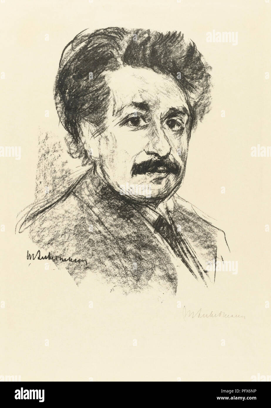 Portrait of Albert Einstein, after a work by Max Liebermann.  Albert Einstein, German-born physicist, 1879-1955. Max Liebermann, German artist, 1847-1935. - Stock Image