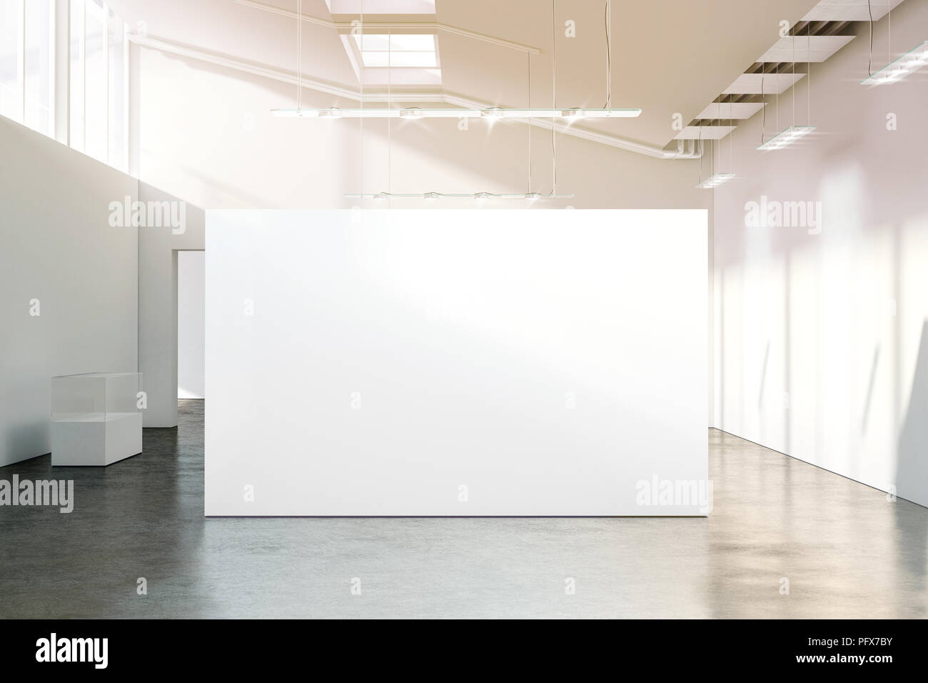 Blank white wall mockup in sunny modern empty museum, 3d rendering. Clear big stand mock up in gallery with contemporary art exhibitions. Large hall i Stock Photo