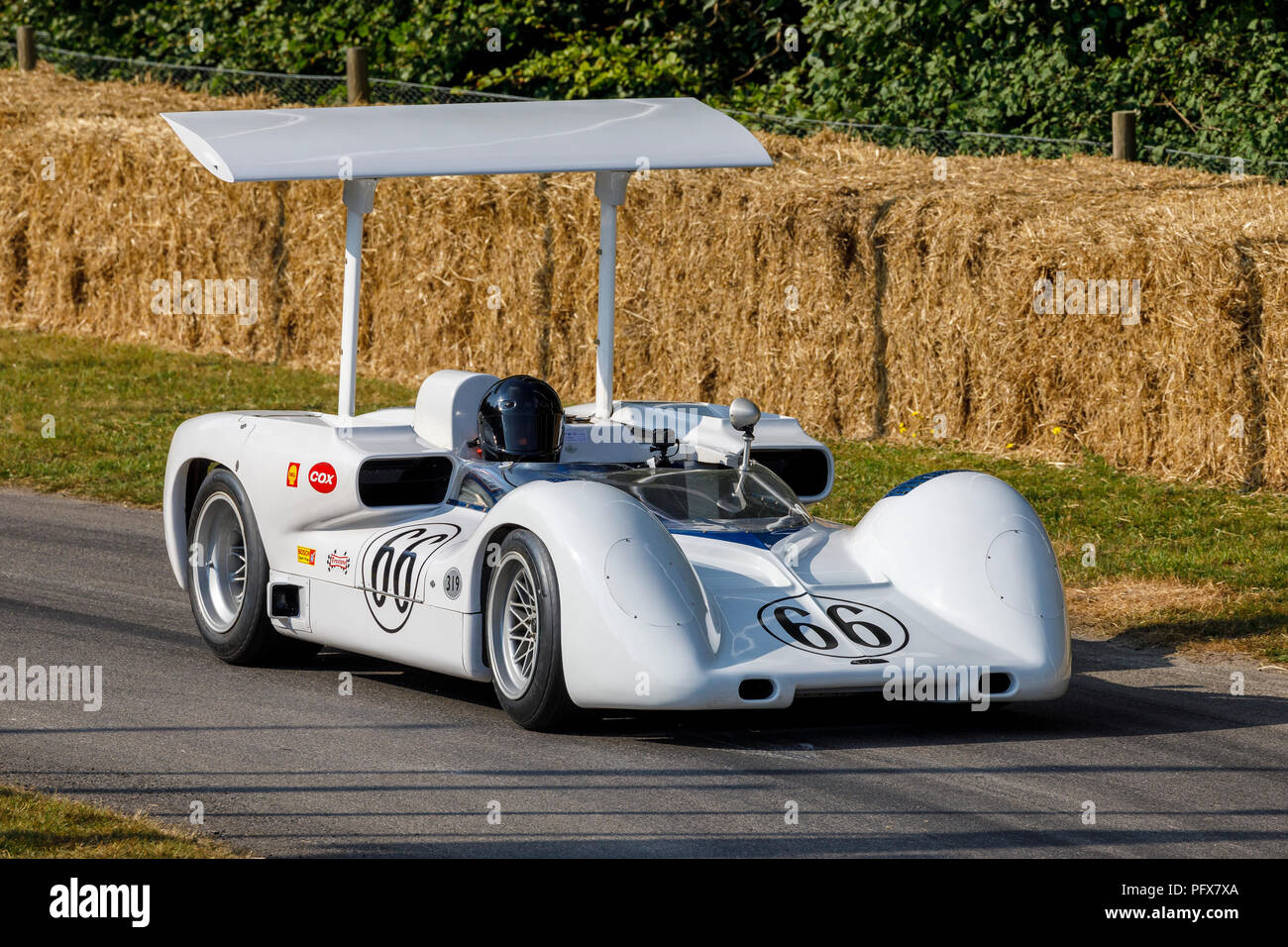 1966 Chaparral-Chevrolet 2E Can-Am racer with driver Kai Anderson at the 2018 Goodwood Festival of Speed, Sussex, UK. - Stock Image
