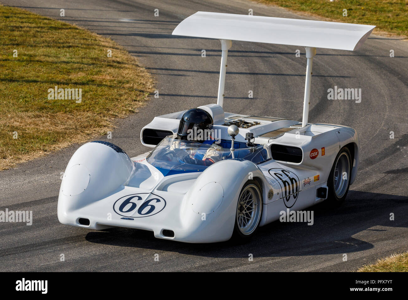 1966 Chaparral-Chevrolet 2E Can-Am racer with driver Kai Anderson at the 2018 Goodwood Festival of Speed, Sussex, UK. Stock Photo