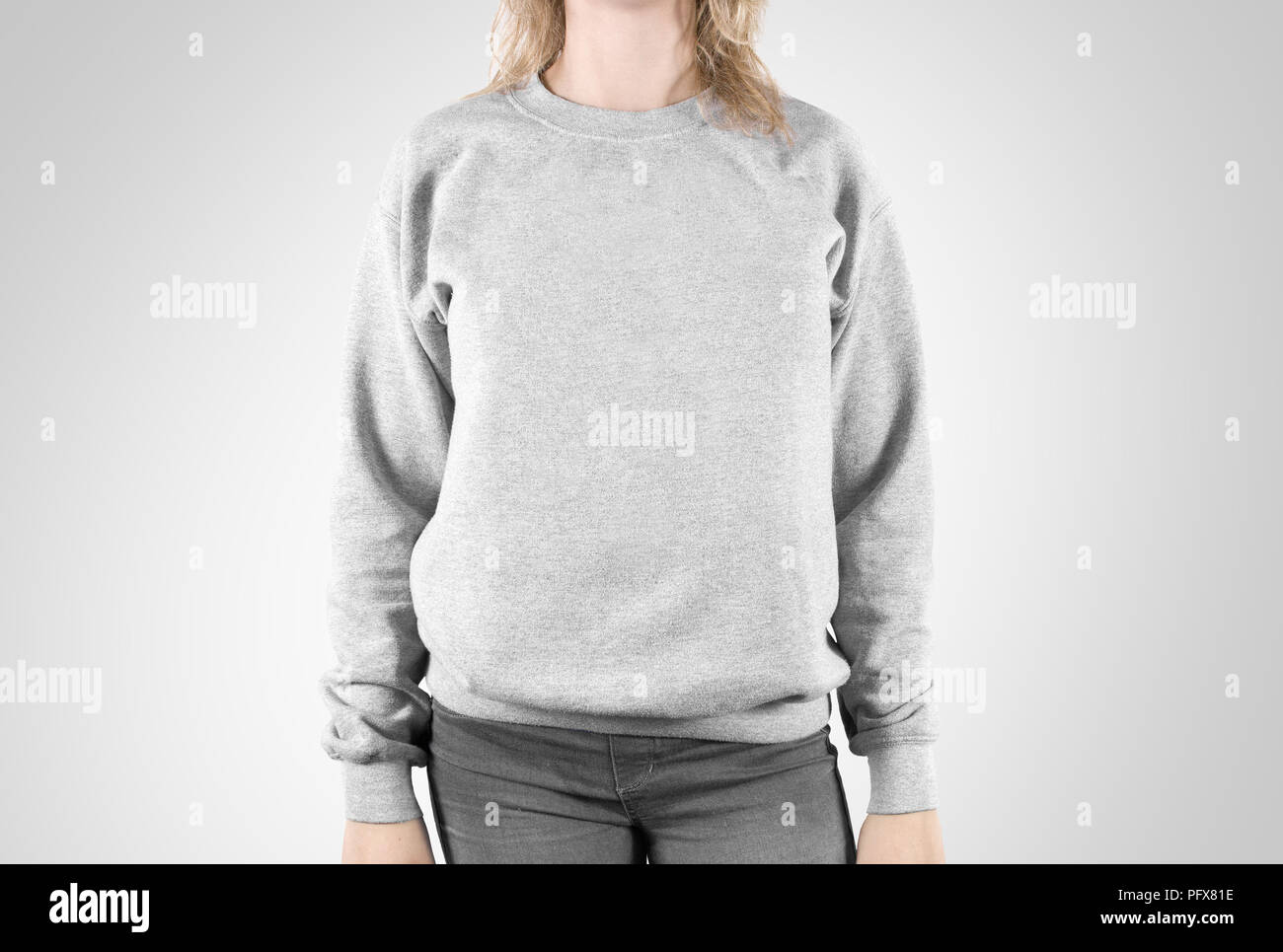 Blank sweatshirt mock up isolated. Female wear plain hoodie mockup. Plain hoody design presentation. Clear loose overall model. Pullover for print. Man clothes sweat shirt template sweater wearing - Stock Image