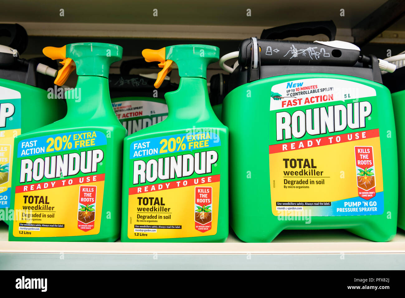 Roundup weedkiller made by Monsanto with Glyphosate, UK. - Stock Image