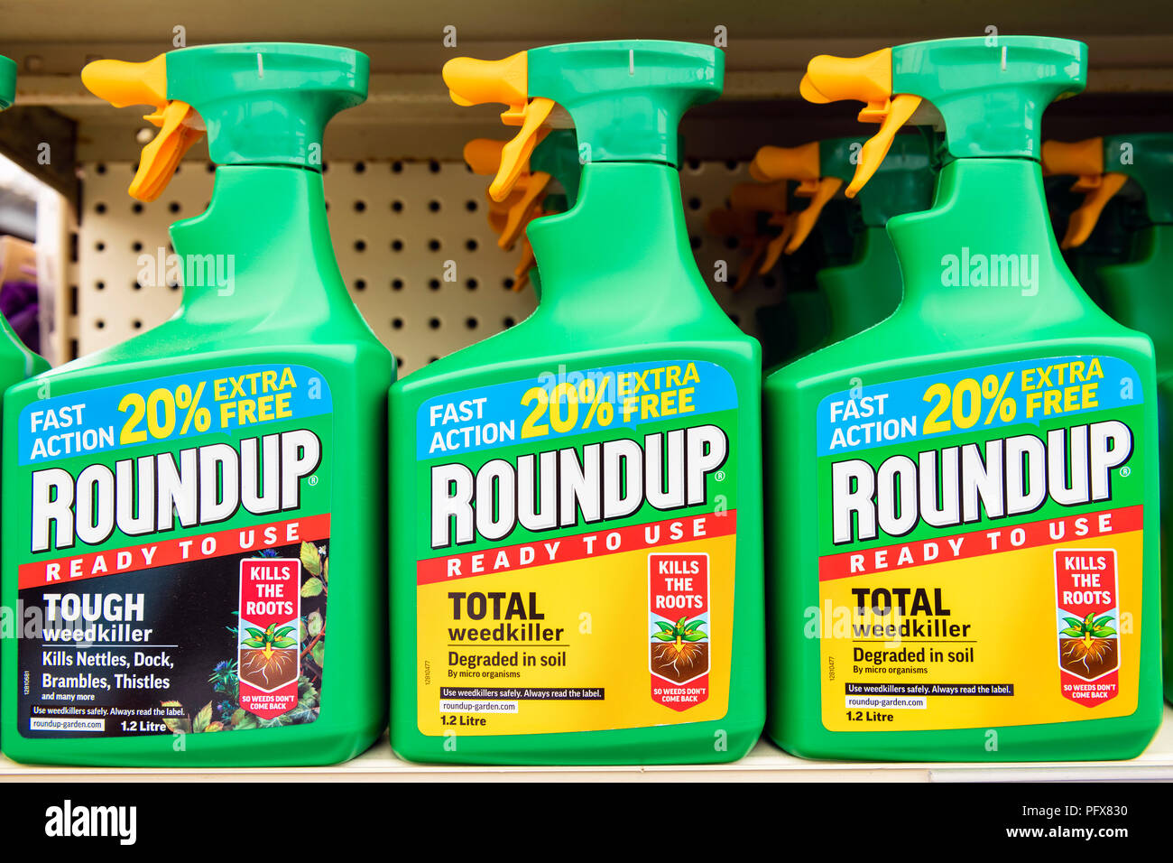 Roundup weedkiller made by Monsanto with Glyphosate, UK. Stock Photo