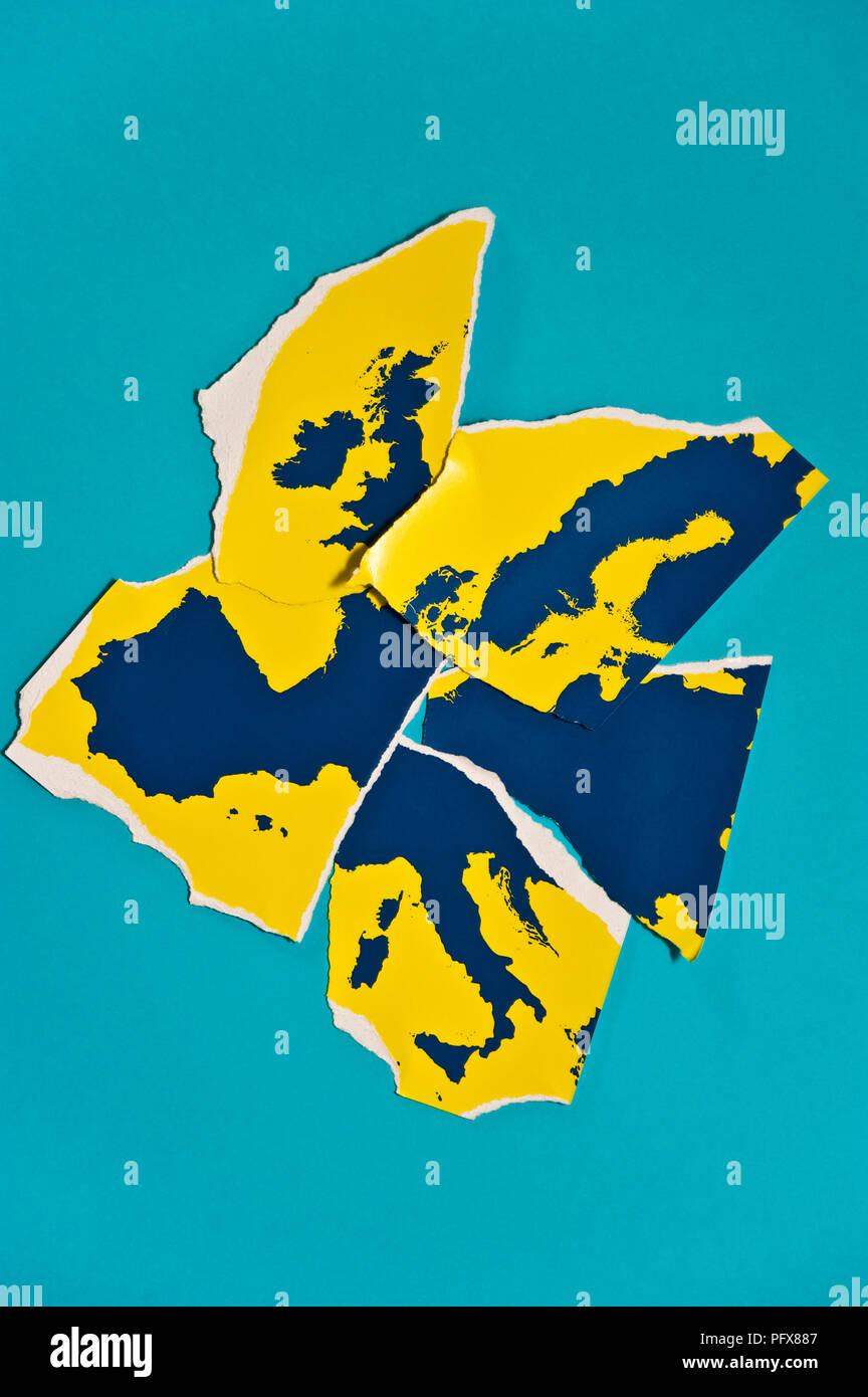 map of Europe teared apart, concept for Europe Union breaking apart - Stock Image