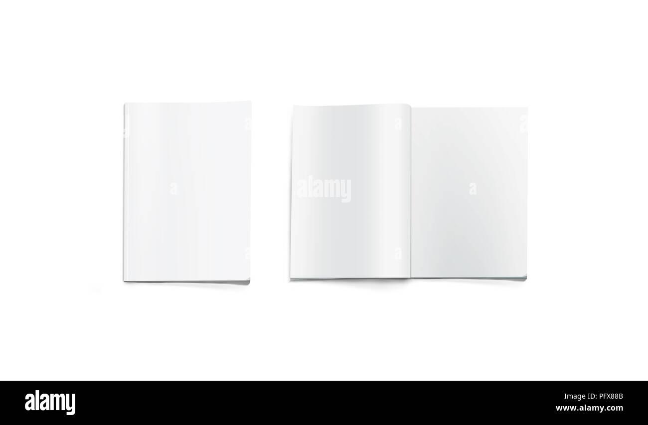 Opened And Closed Blank Magazine Mockup Isolated White