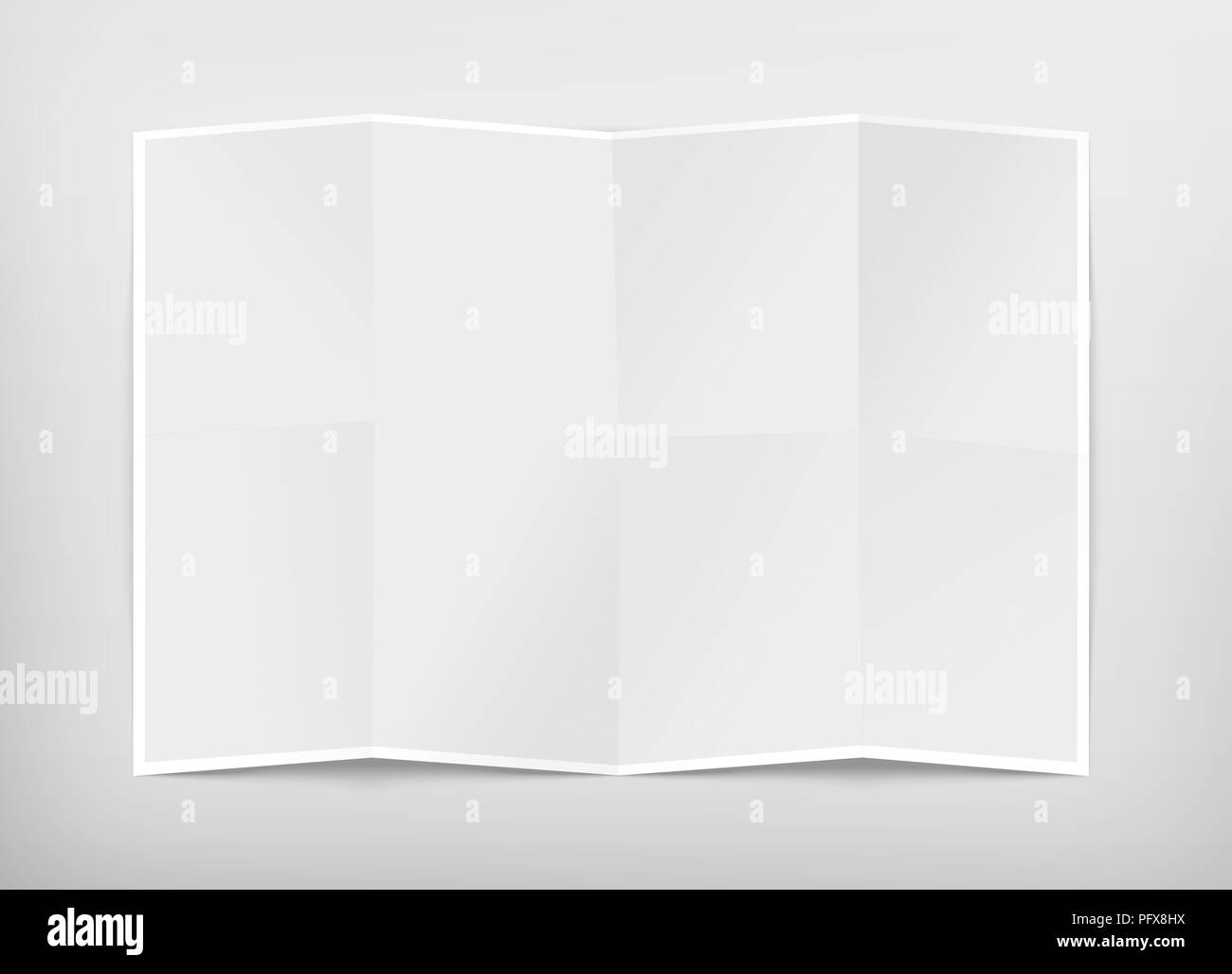 Blank chart design mockup, isolated, clipping path, 3d illustration. Folded map template mock up display. Clear draft plan paper sheet front view. Pattern diagram clear booklet. Clean map mockup. - Stock Image
