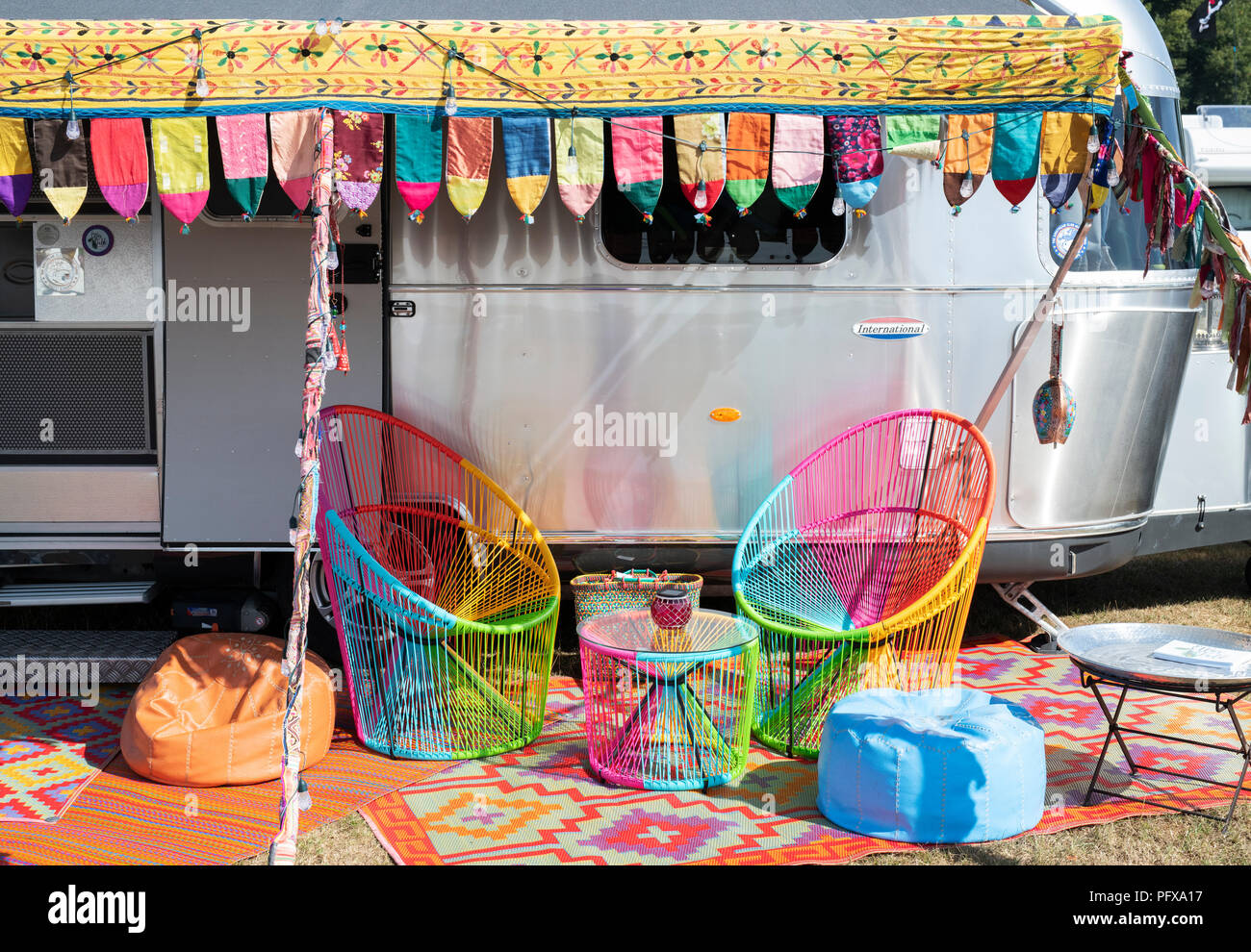 Colourful Airstream caravan at a vintage retro festival. UK - Stock Image