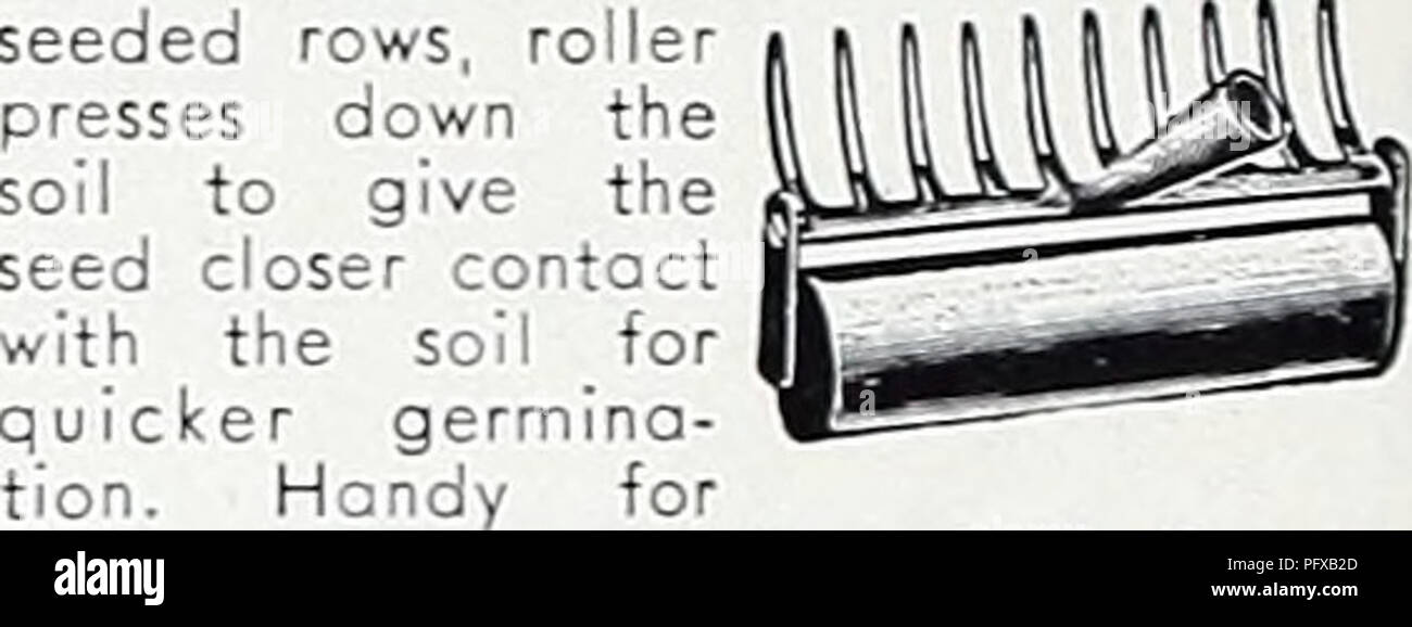 """. Currie's garden annual : 1939. Flowers Seeds Catalogs; Bulbs (Plants) Seeds Catalogs; Vegetables Seeds Catalogs; Nurseries (Horticulture) Catalogs; Plants, Ornamental Catalogs; Gardening Equipment and supplies Catalogs. 254. Kake covers seeded rows, roller presses down the soil to give the. rollmg lawn seed into soil. Roller de- tachable. Complete with 5 ft. GARD- EX hondle. 10"""" wide, 10 teeth, roller diameter 2%"""" $2.20 GARDEX CULTIVATOR GARDEX PULL HOE WEEDER 1553. With the new GARDEX potented Diamond Point Shares. Use this tool instead of the old chopping hoe for five times fast- - Stock Image"""