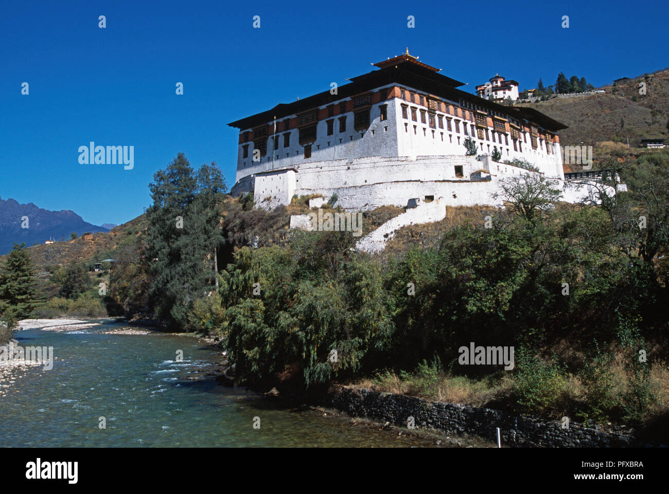 Rinpung Dzong and Paro Chhu river in Paro district, Bhutan - Stock Image