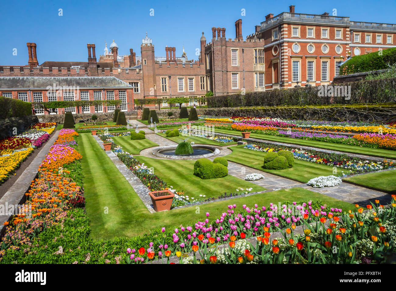 Hampton Court Palace, Richmond, London, UK - 22 April 2018 - the palace gardens - Stock Image