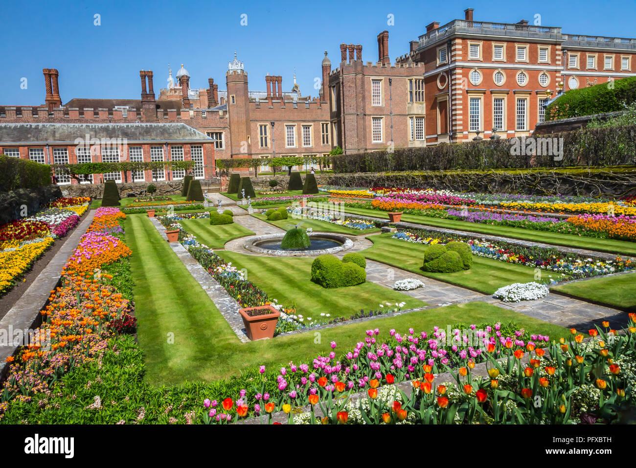 Hampton Court Palace, Richmond, London, UK - 22 April 2018 - the palace gardens Stock Photo
