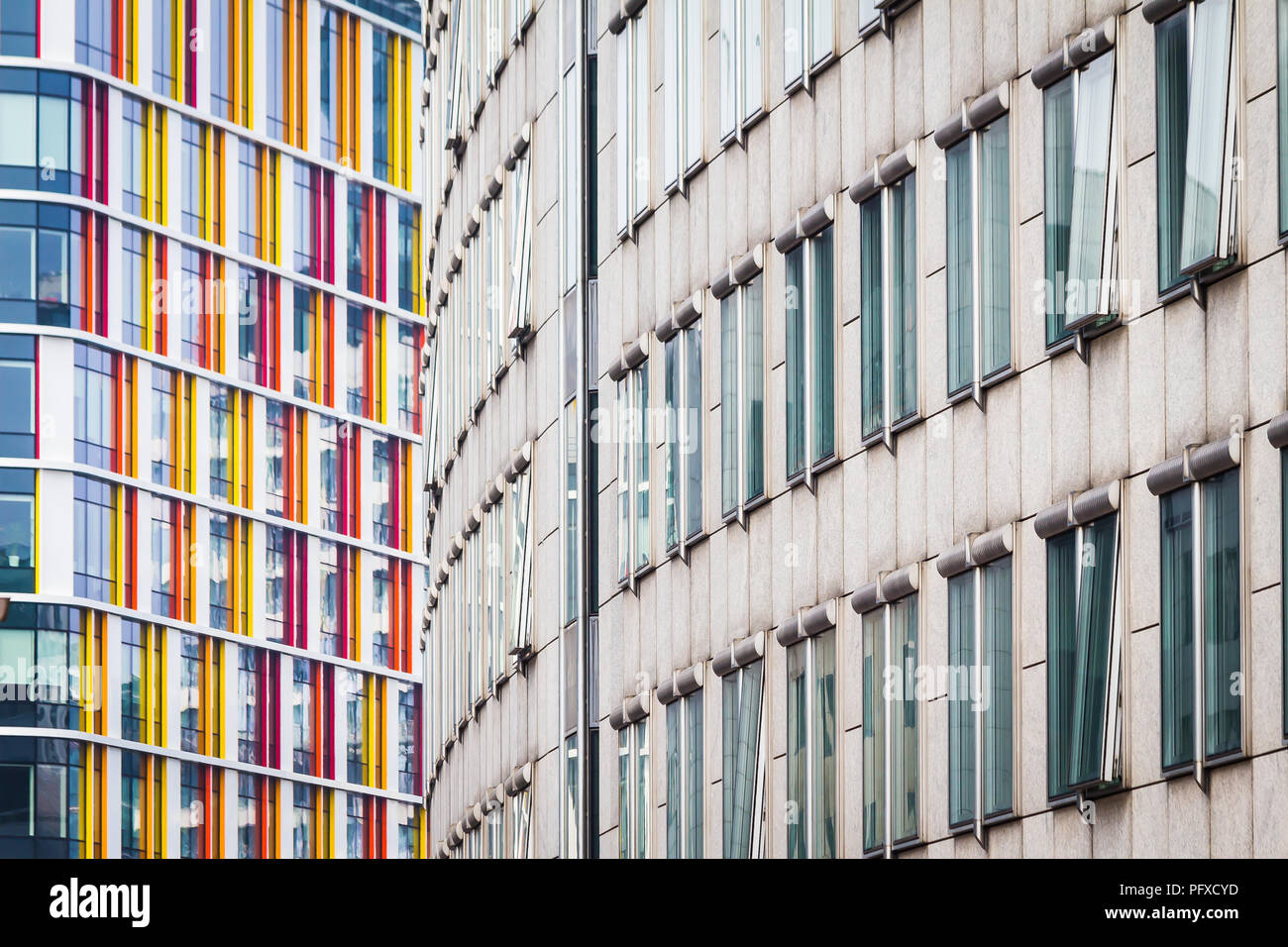 two walls of modern buildings - Stock Image