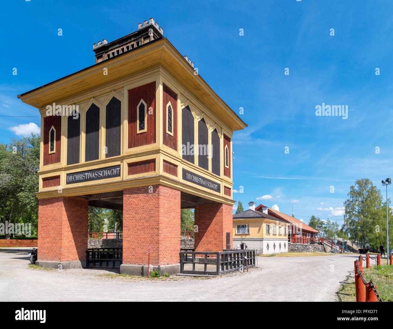 The Queen Christina shaft at Sala Silver  Mine (Sala silvergruva), an open air museum in Sala, Västmanland, Sweden - Stock Image