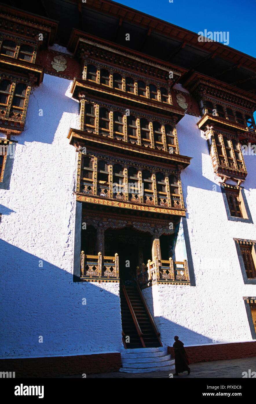 Interior courtyard of Punakha Dzong in Punakha, Bhutan - Stock Image