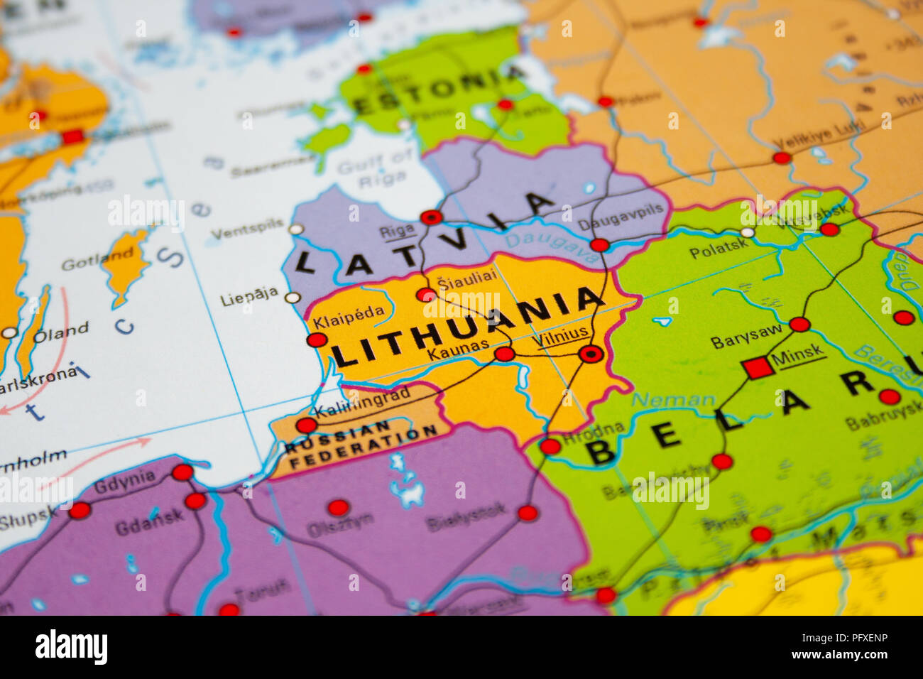 Map of Lithuania, Baltic states Stock Photo