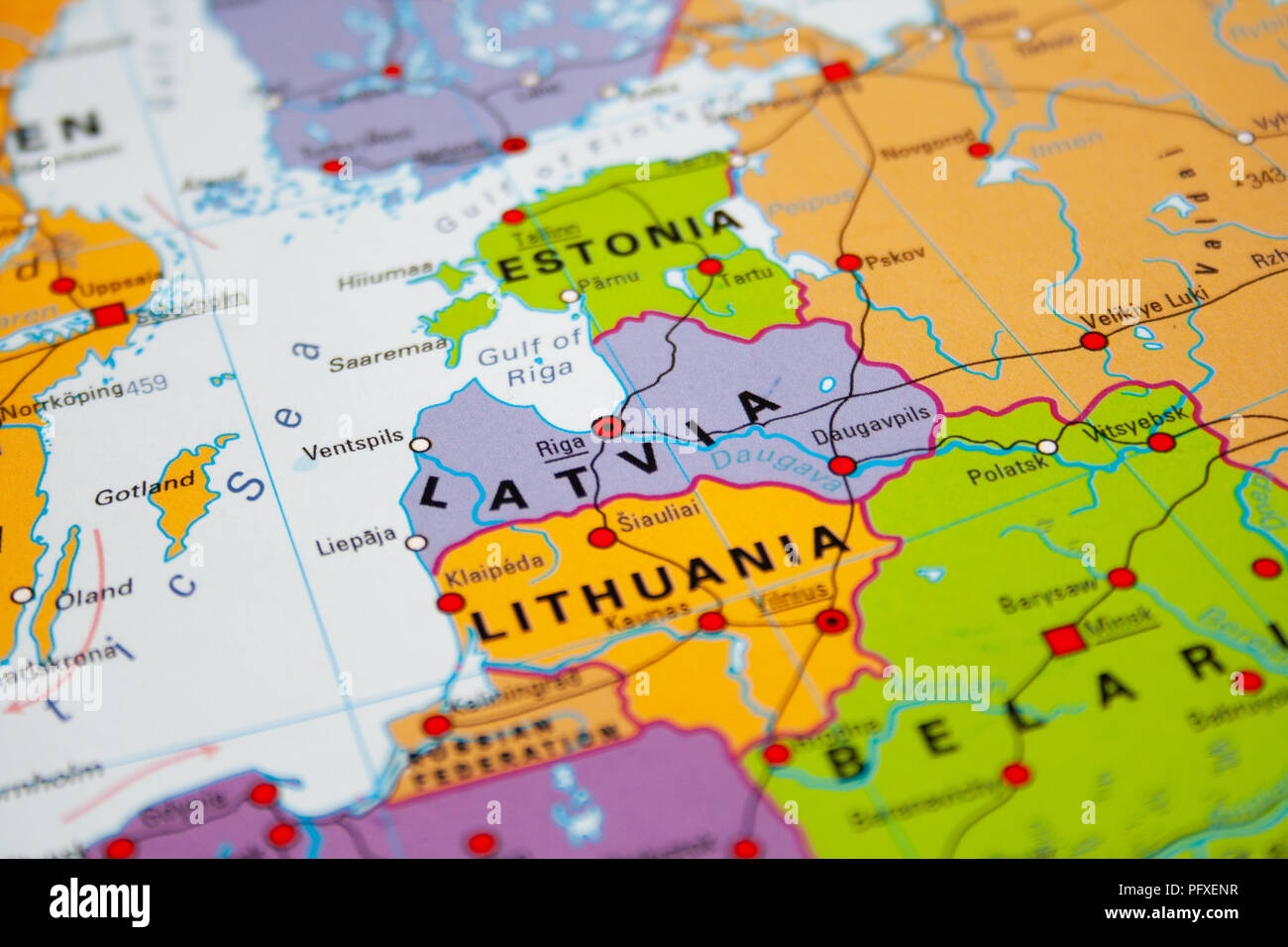 Map of Latvia, Baltic states Stock Photo: 216326595 - Alamy