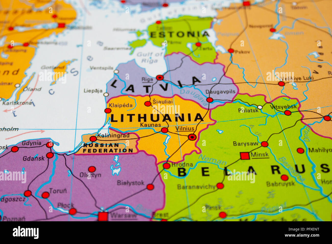 Map of Lithuania, Baltic states Stock Photo: 216326596 - Alamy