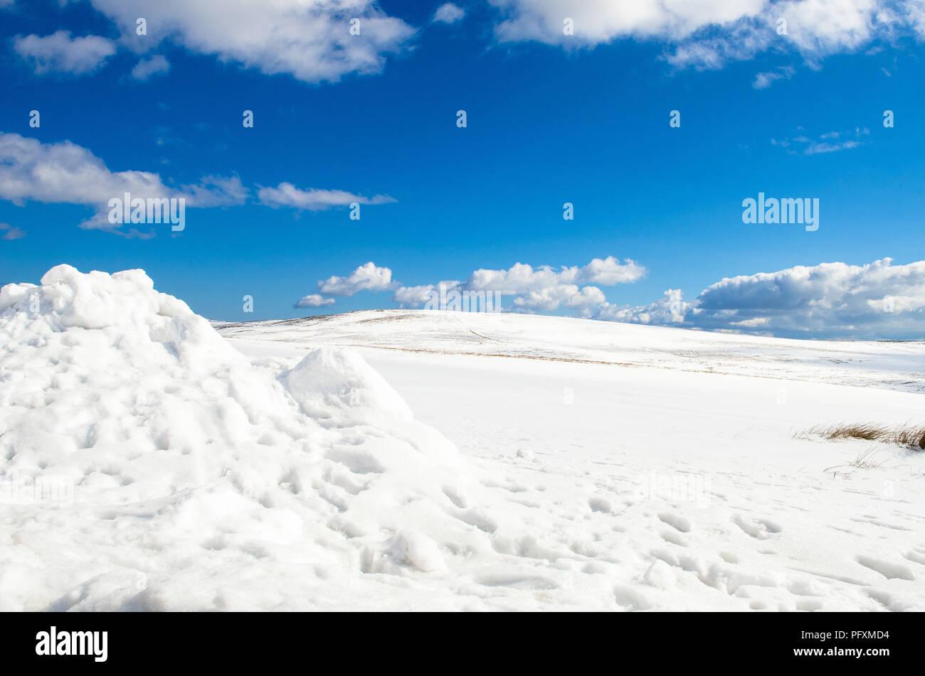 Divis and Black Mountain walk Belfast Hills Snow covered Nation Trust Belfast Northern Ireland - Stock Image