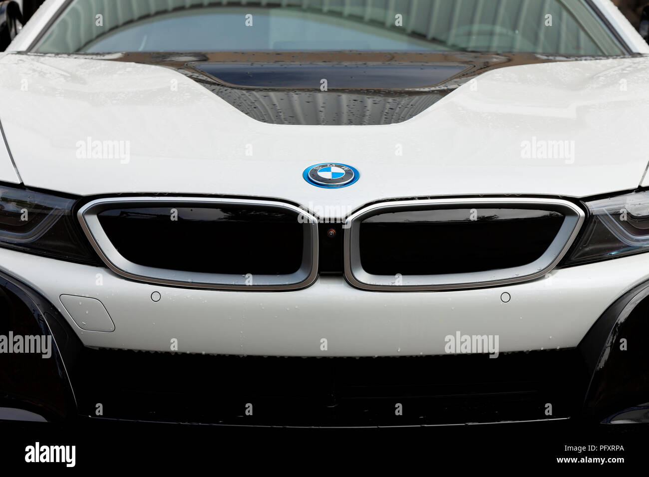 New Bmw I8 Coupe Of White Color Exposed At The Fair Trade Of Gijon