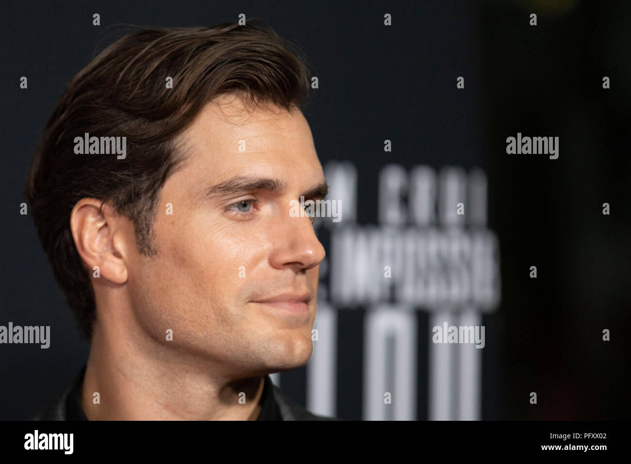 Actor Henry Cavill on the red carpet prior to a screening of Mission Impossible Fallout a the Smithsonian National Air and Space Museum on July 22, in Washington, DC. Stock Photo