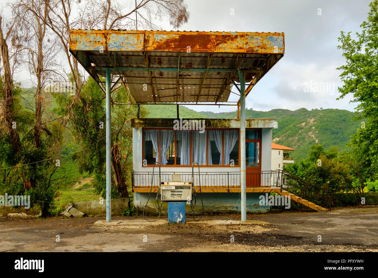 Old gas station near Ballsh, Qarier Fier, Albania - Stock Image