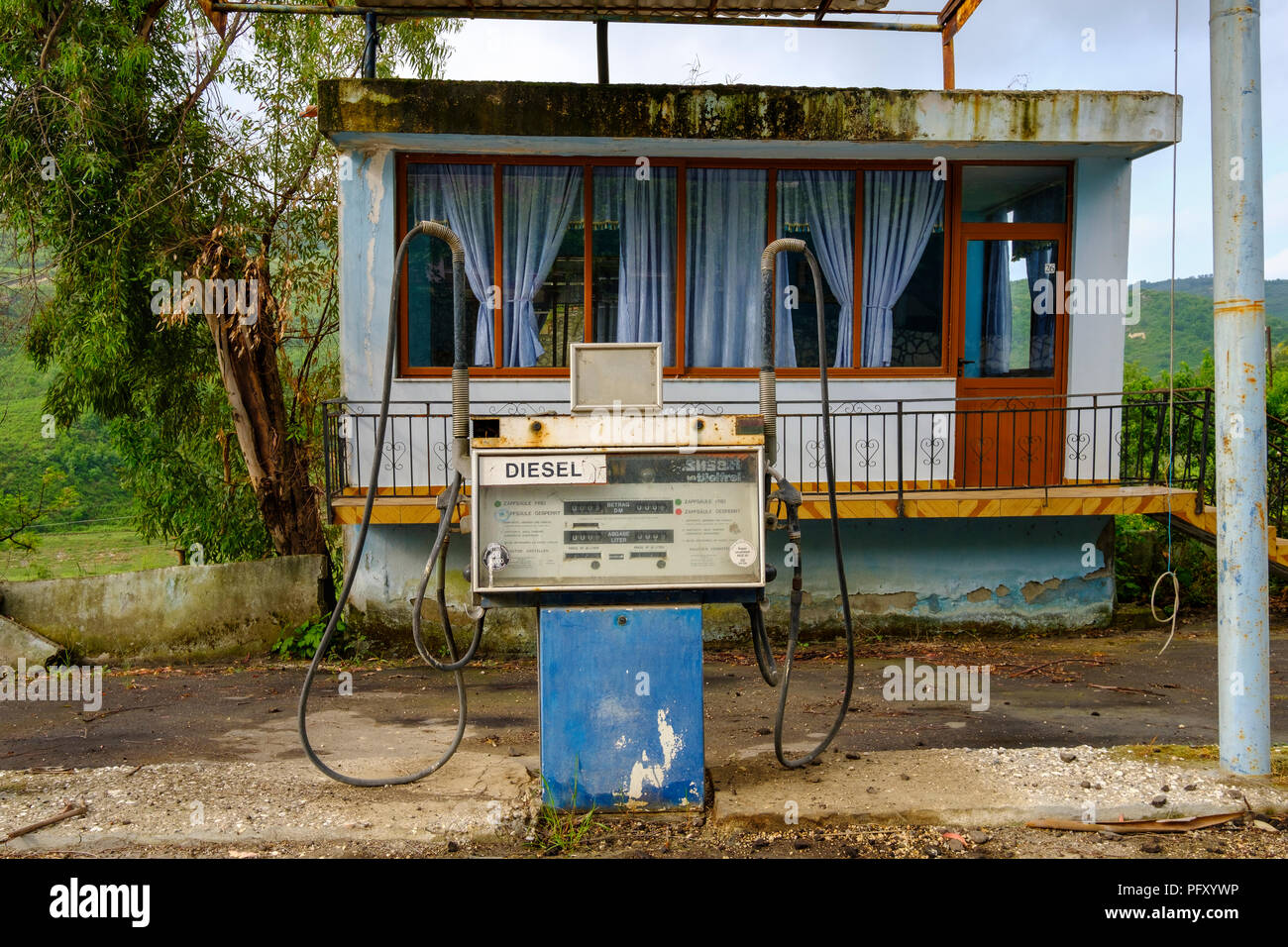 German Diesel petrol pump, old petrol station near Ballsh, Qarier Fier, Albania - Stock Image