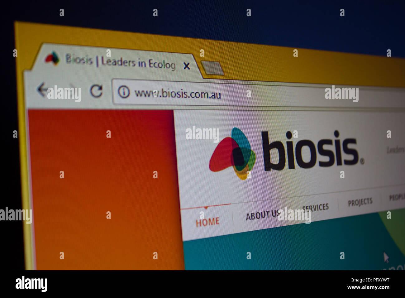 BIOSIS  Website homepage - Stock Image