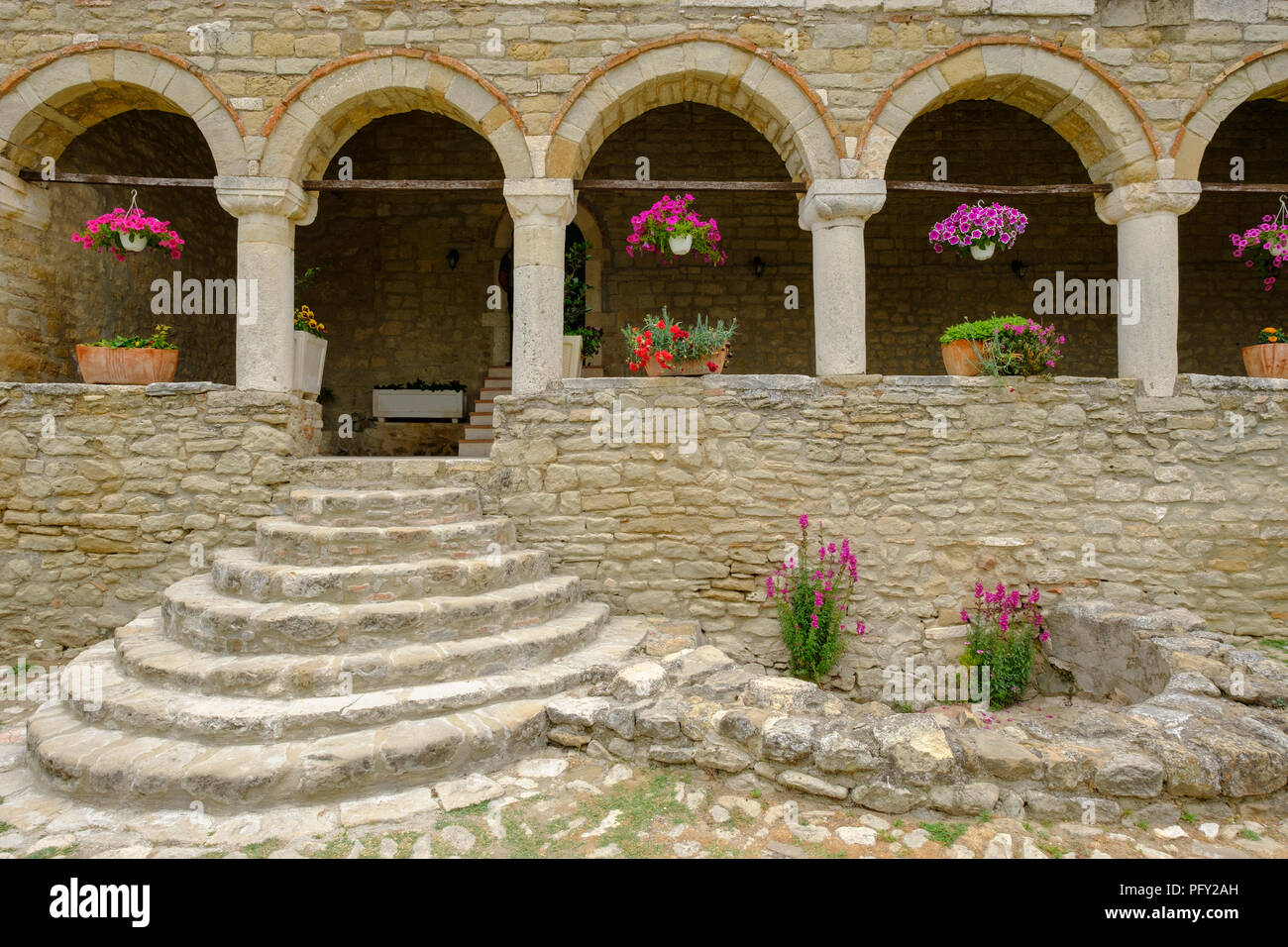 Portico in front of St. Mary's Church, Orthodox monastery Ardenica, Qar Fier, Albania - Stock Image