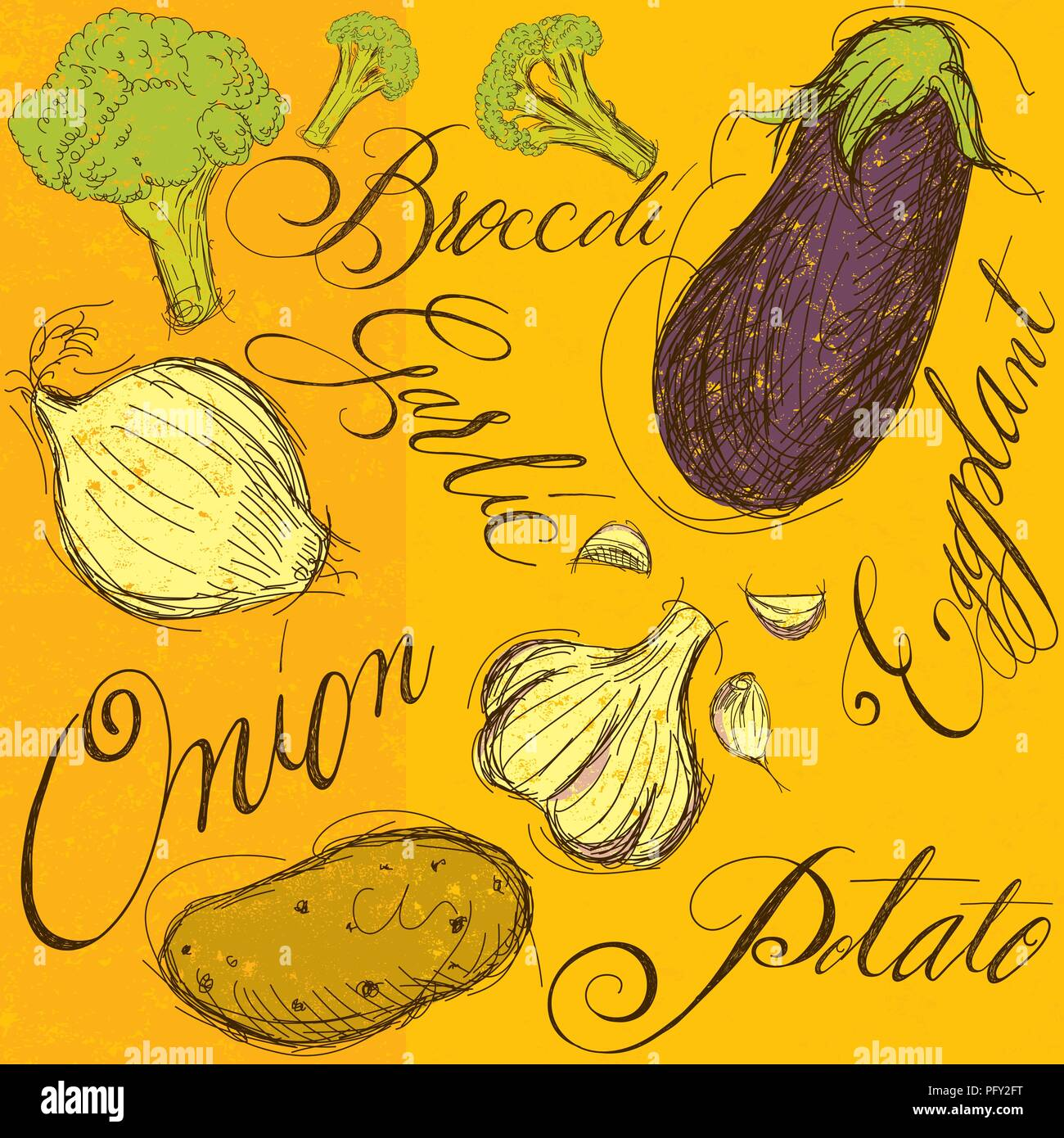 Vegetable mix with calligraphy. The vegetables are broccoli, garlic, onion, eggplant, and a potato. - Stock Vector