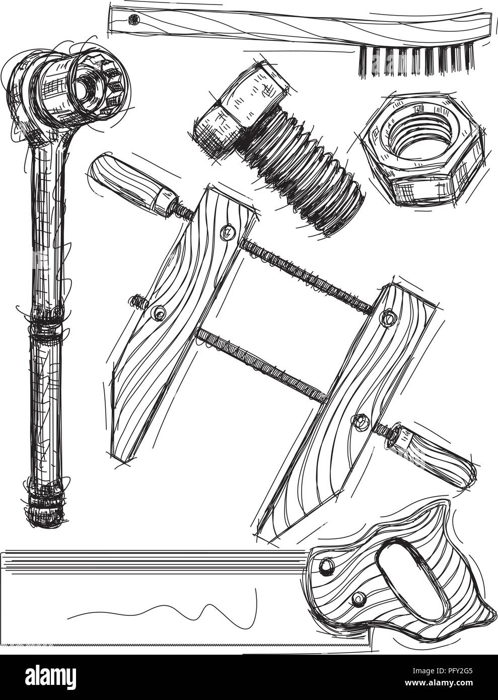 Work tool sketches - Stock Vector