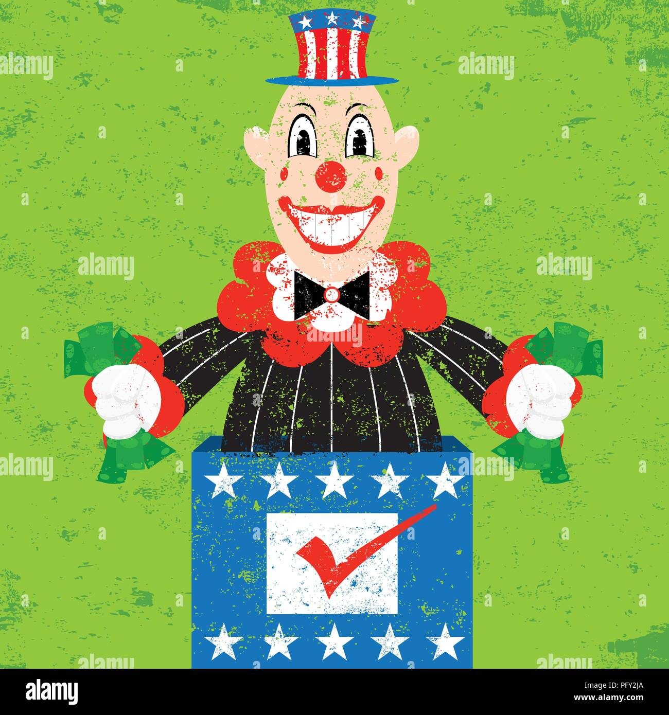 Politician in the Box. A cash grabbing Politician-in-the-Box popping out of a ballot box over an abstract background. - Stock Vector