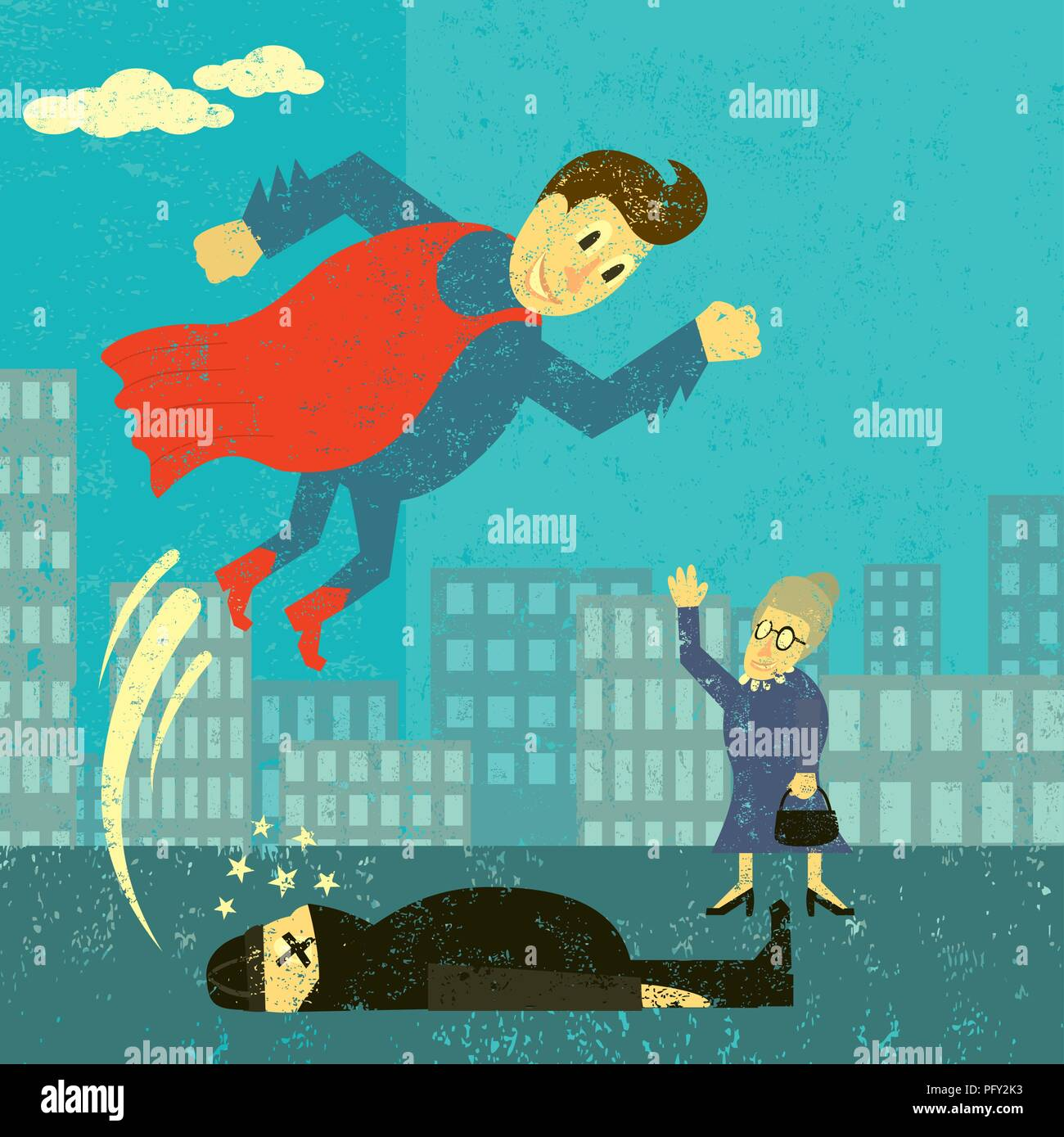 Super hero saves the day. A super hero saves an elderly woman from a thief. - Stock Vector