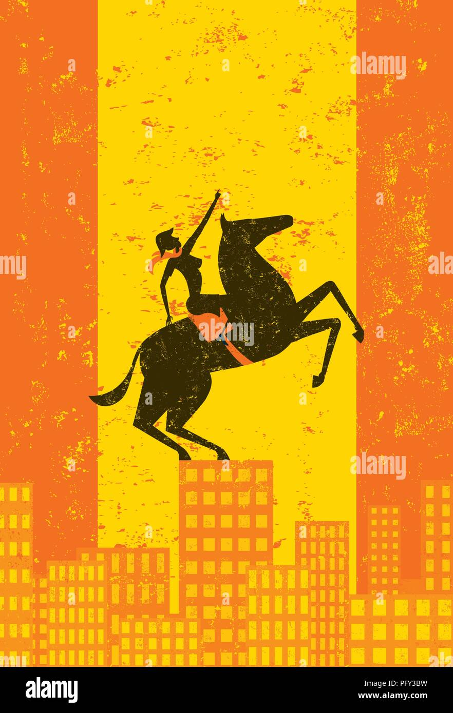 Business Titan. A business leader, looking Napoleon-esque on her horse, points upward on top of a city skyline. - Stock Vector