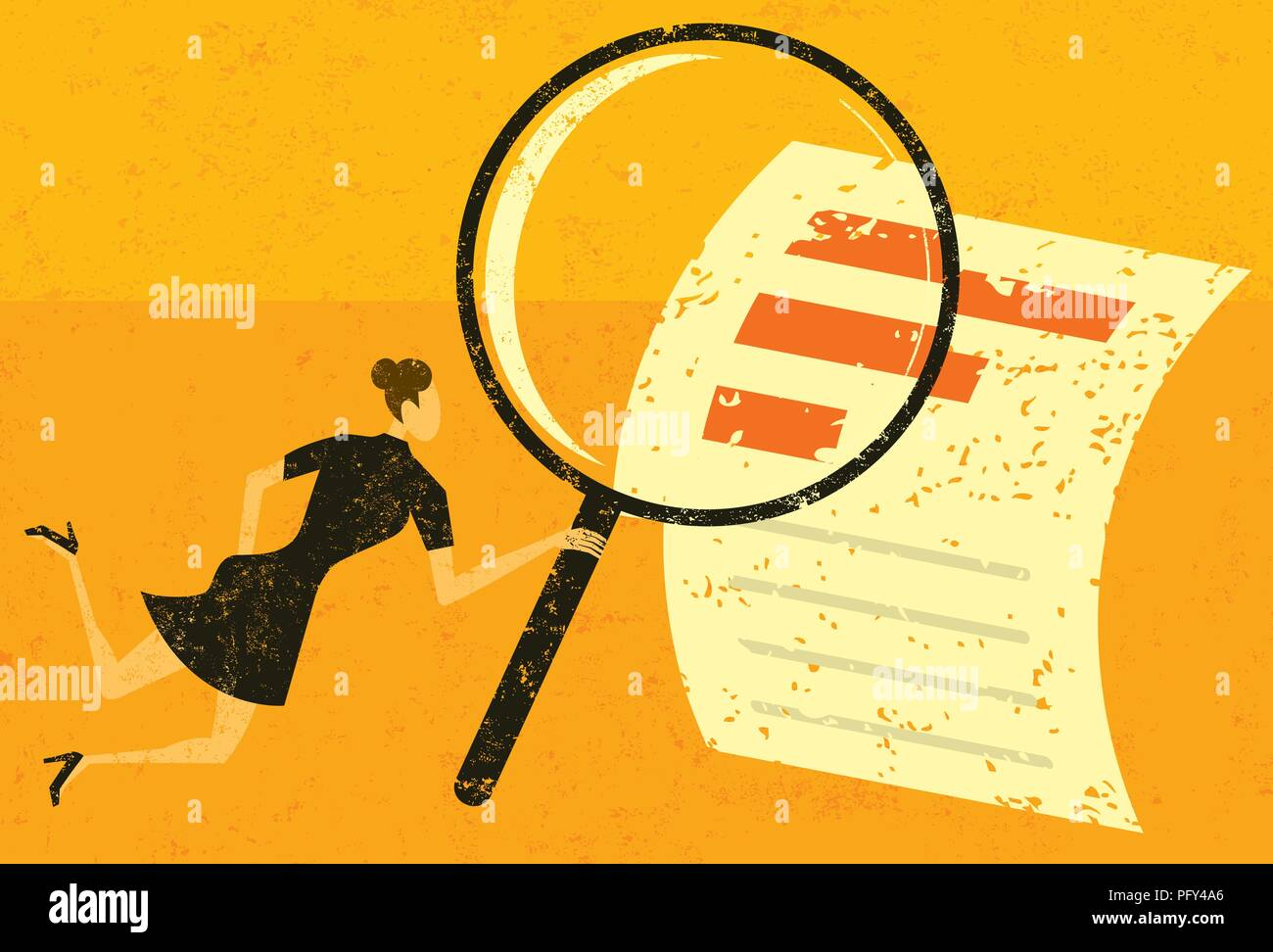 Examining Financial Data. A woman looking through a magnifying glass at a financial document over an abstract background. - Stock Vector