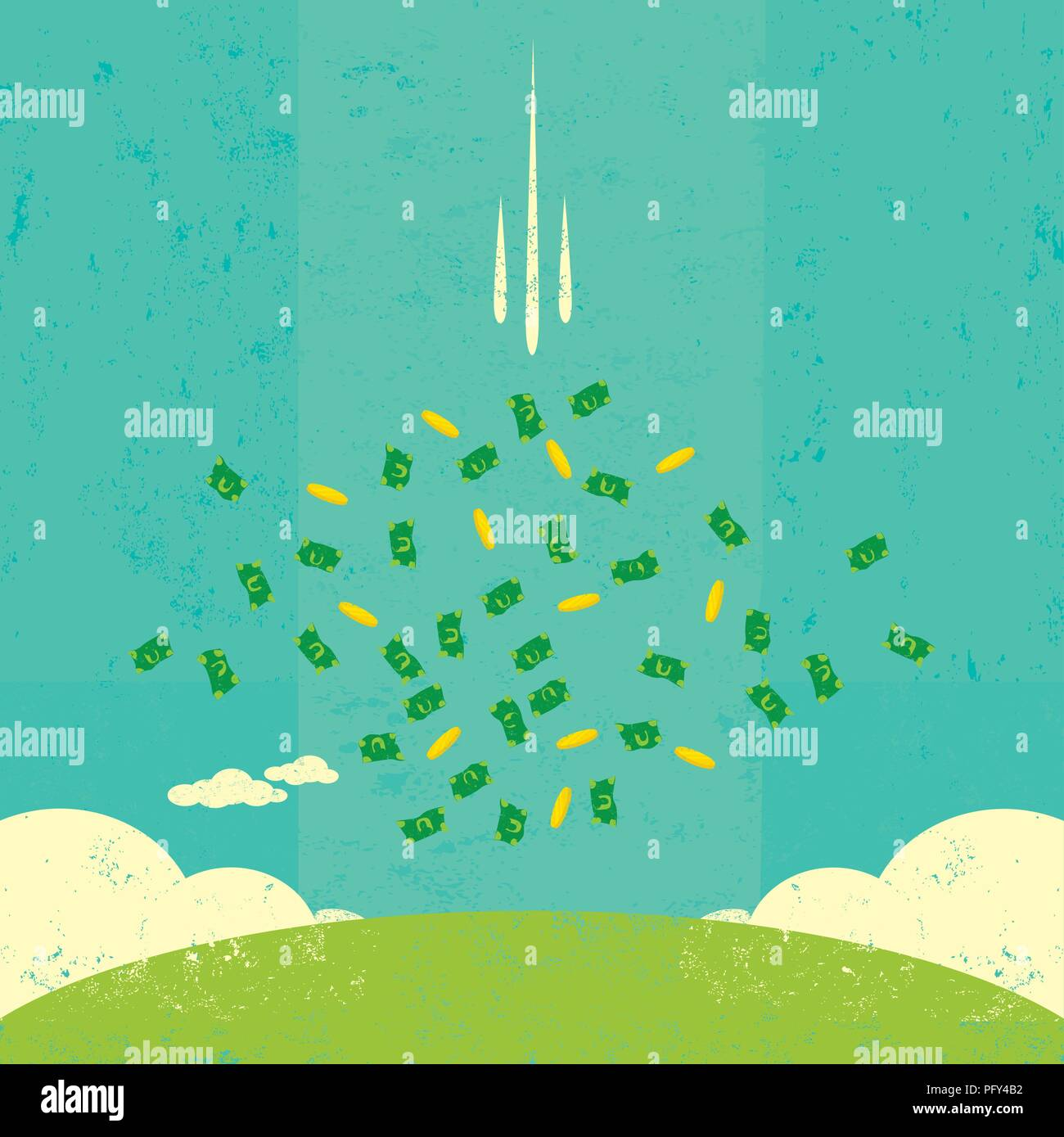 Falling Money Cash And Coins Raining Down From The Sky Stock Vector