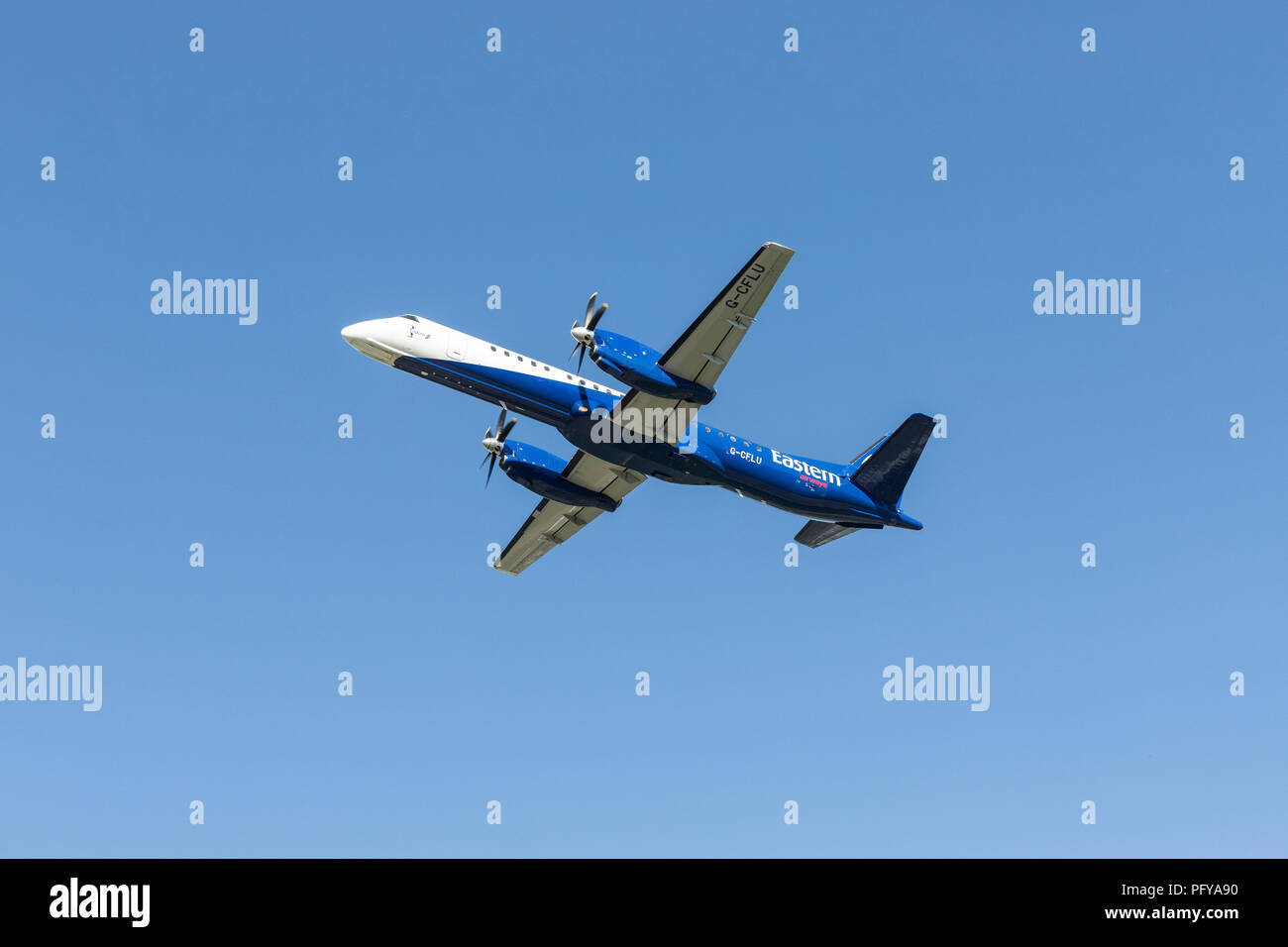 Airbourne Eastern Airways G-CFLU twin engined aircraft Saab 2000 MSN-55 - Stock Image