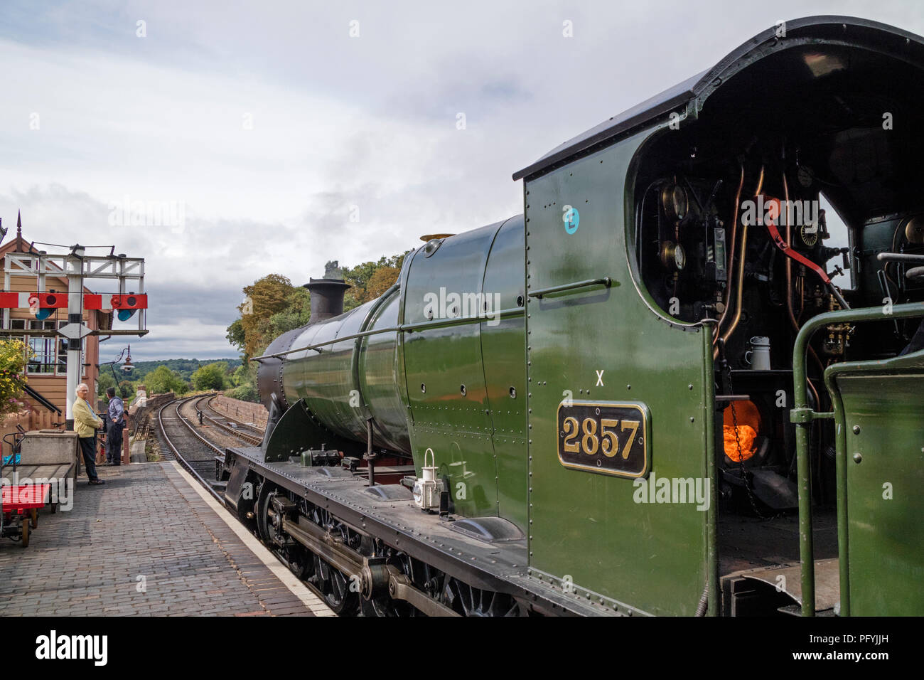 A steam train at Bewdley station on the Severn Valley Railway, Bewdley, Worcestershire, England, UK Stock Photo
