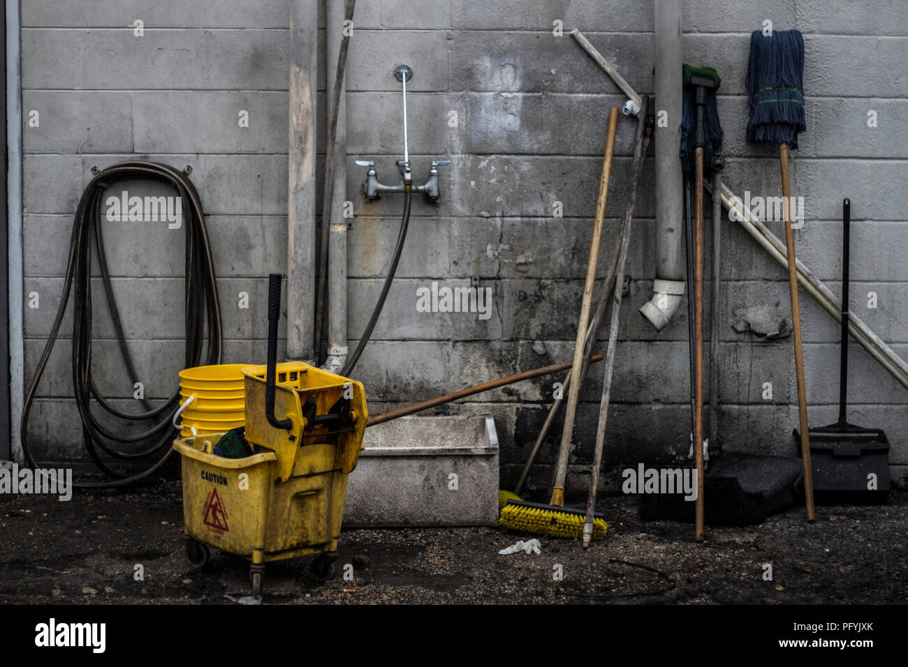 Mop Buckets and Cleaning - Stock Image