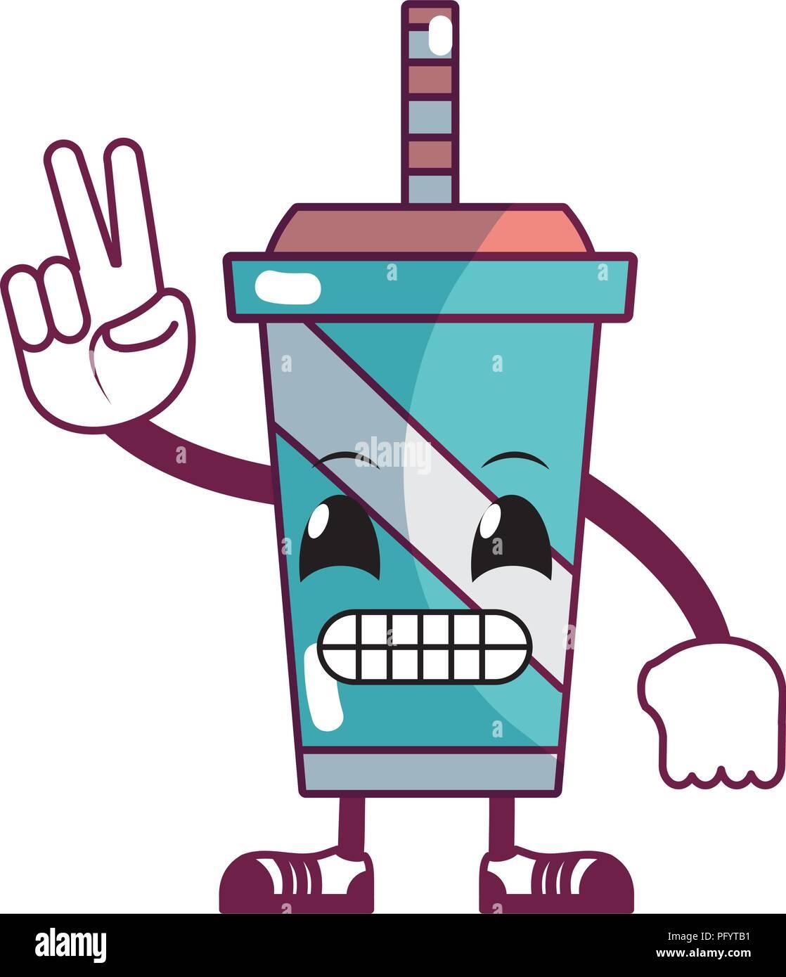 kawaii comical soda with arms and legs - Stock Image