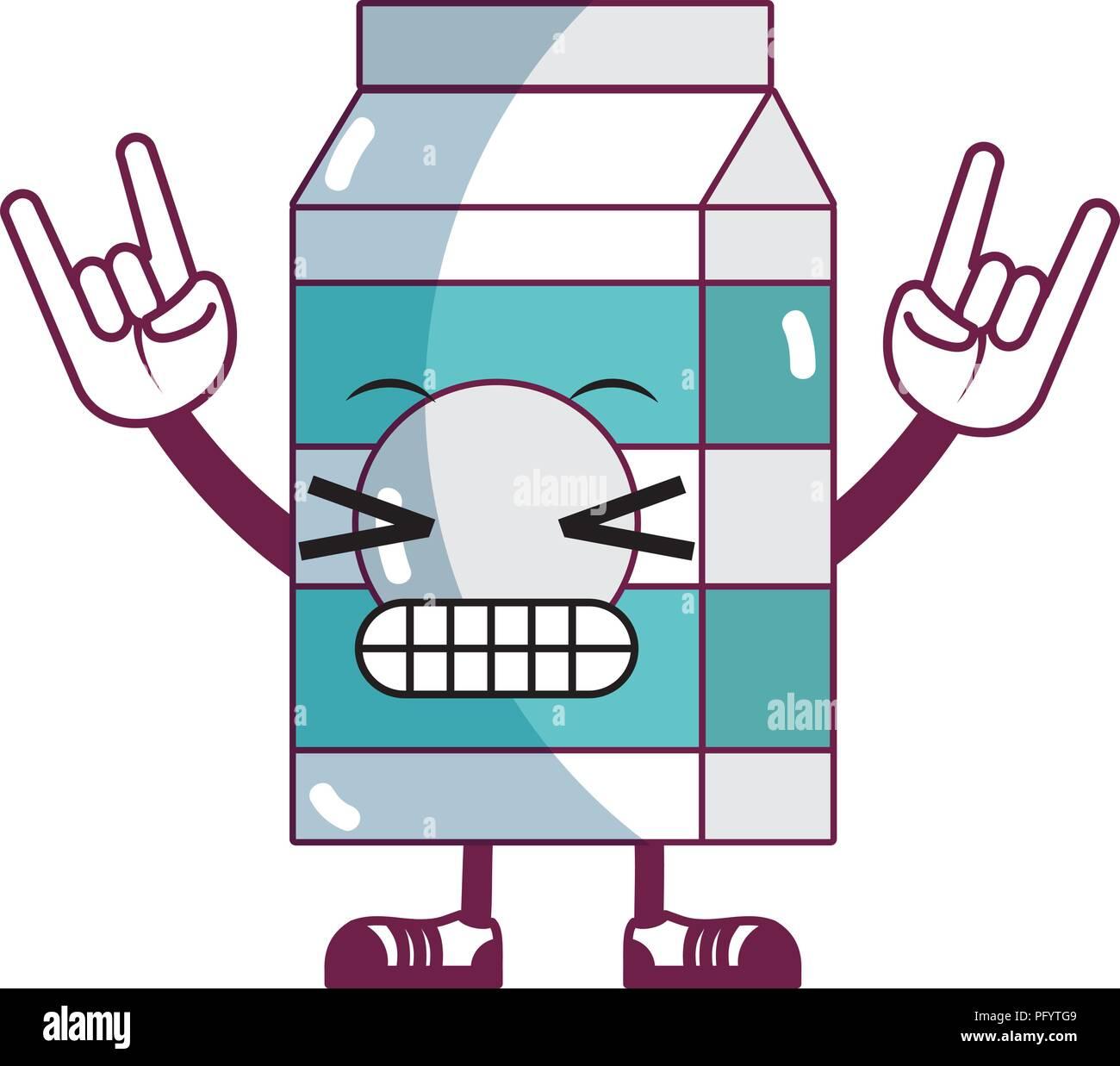 kawaii comical milk box with arms and legs - Stock Image
