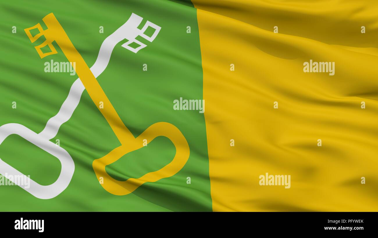 Toa Baja City Flag, Puerto Rico, Closeup View Stock Photo