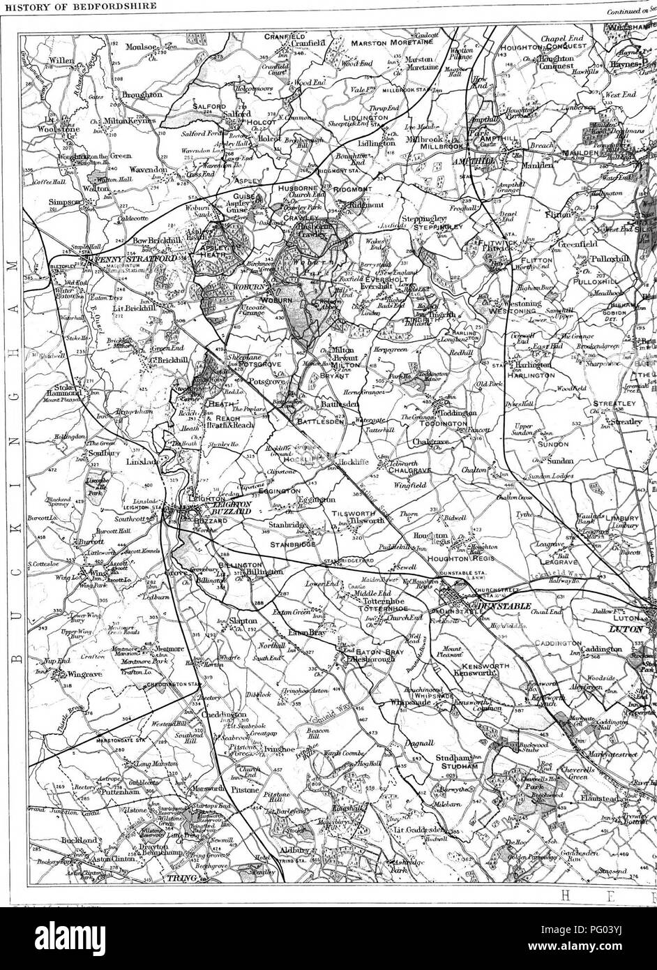 . The Victoria history of the county of Bedford. Natural history. TOPOGRAPHICAL HISTORY OF BEDFORDSHIRE. Hie lajnbmgli Gnngn^lnBiil TiuitJ*o±*- ScslLo 2 ^filiiB tn an lucli Main DriTiag Konds g THE VICTORIA HISTORY OF. Please note that these images are extracted from scanned page images that may have been digitally enhanced for readability - coloration and appearance of these illustrations may not perfectly resemble the original work.. Page, William, 1861-1934, ed; Doubleday, H. Arthur (Herbert Arthur), 1867-1941. Westminster [A. Constable] Stock Photo