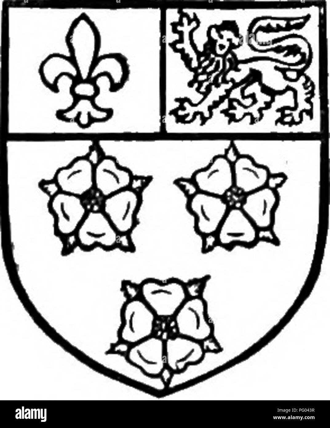 """. The Victoria history of the county of Bedford. Natural history. A HISTORY OF BEDFORDSHIRE. King's C o l l e g k, Cambridge. Sable three lilies argent and a chief party azure viith afleur de Hi or and gules vjith a leopard or. for in 1522 Farley was again crown property.*"""" Lysons offers a supposition, based on no ascertainable authority, and not corroborated by its subsequent history, that King's College had conveyed Farley to St. Albans in exchange for other lands.^""""' St. Albans cer- tainly appears to have tried to enforce some claim on Farley, which lay adjacent to its own manor o Stock Photo"""