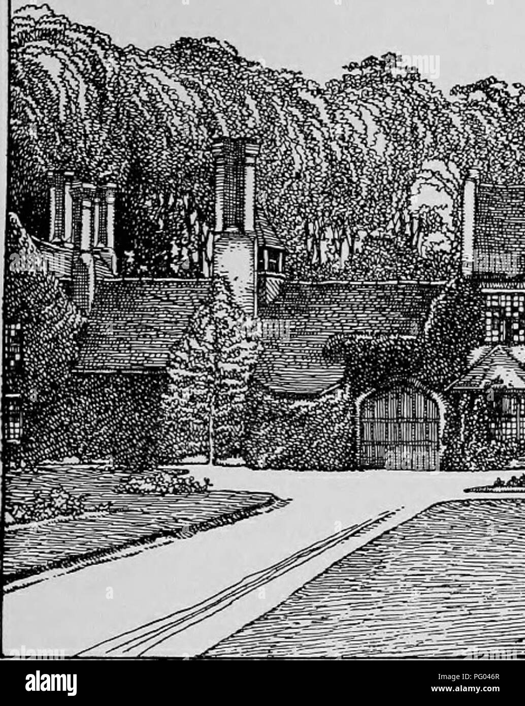 . The Victoria history of the county of Hertford. Natural history. BRAUGHING HUNDRED house and the river. All the old work is built of thin bricks and the roofs are tiled. The modern por- tions of the building were erected about 1872. In the centre of the west front is the wide entrance gateway, now inclosed and forming an entrance hall, with four-centred arches covered with cement; the original semi-octagonal flanking turrets have been demolished nearly to the ground level, one of them having been formed into a bay window ; the turrets next the courtyard still contain the oak newel stairs to  - Stock Image