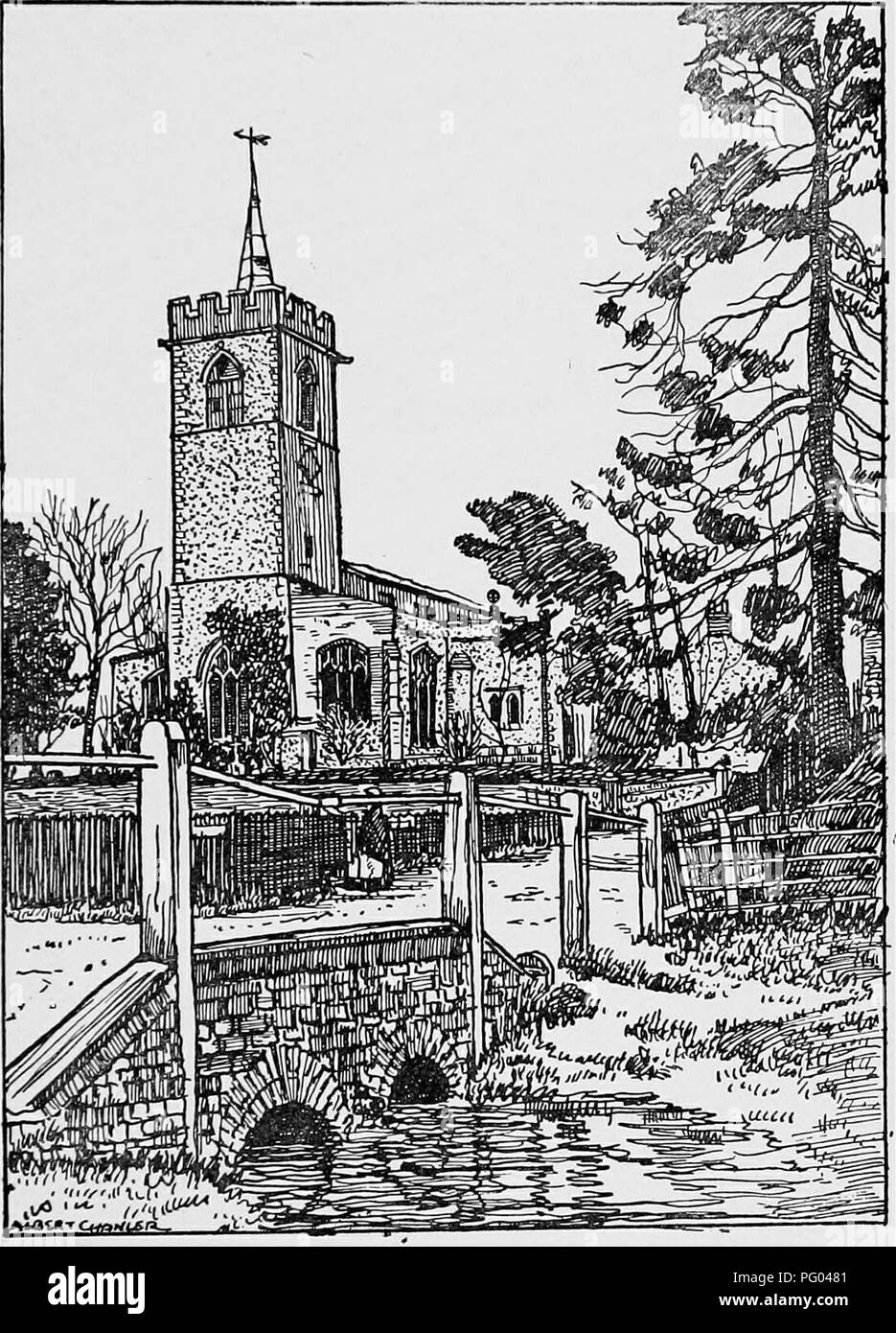 . The Victoria history of the county of Hertford. Natural history. EDWINSTREE HUNDRED FURNEUX PELHAM stonework is defaced. In the south-east angle is a hollow-chamfered four-centred doorway to the rood stair, which still exists, as does also the upper doorway to the loft. In the south wall of the eastern respond of the arcade is a i jth-century piscina with cinque- foiled arch, continuously moulded, with stopped jambs.'° The head is square and the spandrels are carved with roses and cusping. The south aisle has two windows in the south wall and one window of three lights in the west wall, all  - Stock Image