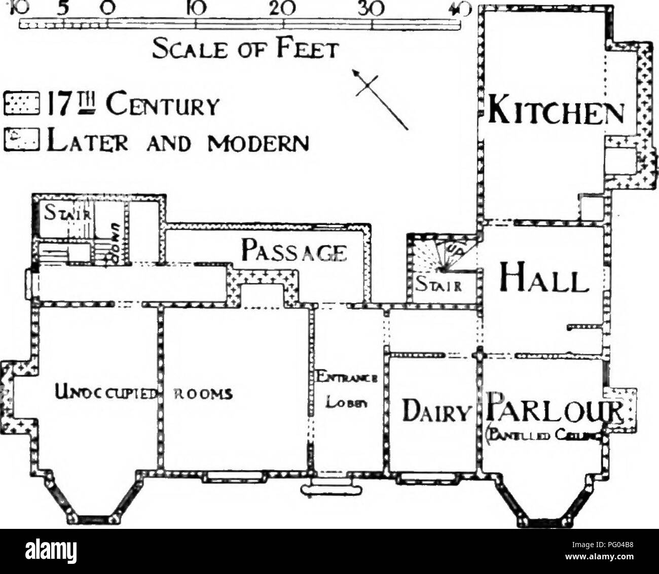 . The Victoria history of the county of Hertford. Natural history. Traces dormer windoiv) •10 5 Scale of Feet £3172! Century EDLateu and modern. Plan of thb Beeches, Brent Pelham the moulded ribs of which form a square and hexagonal pattern ; the ceiling goes into the bay window. The wide kitchen fireplace has a three-centred arch, partly blocked ; there is a small cellar under the kitchen. On the first floor is a stone fireplace with four-centred arch and frieze carved with roses and leaves ; it is of mid-17th-century date. The attic floor over the main block is one long gallery the whole len - Stock Image