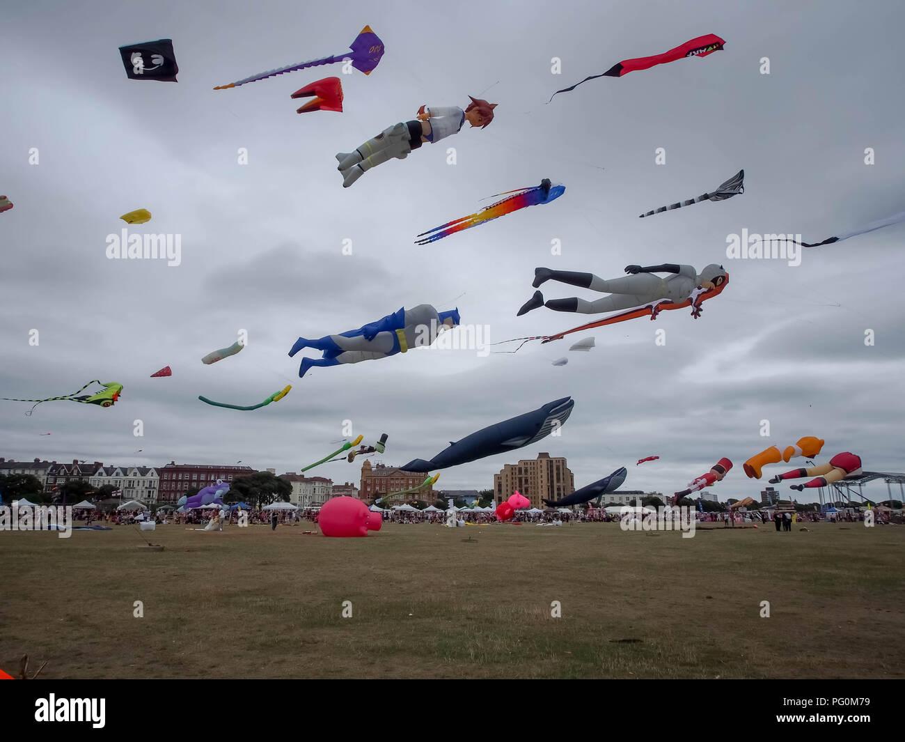 Kites flying at Portsmouth international kite festival Stock Photo