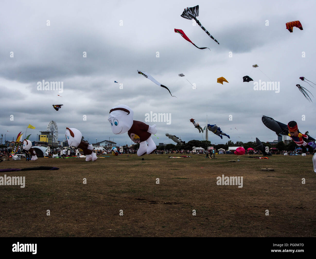 Large kites flying at Portsmouth international Kite Festival Stock Photo