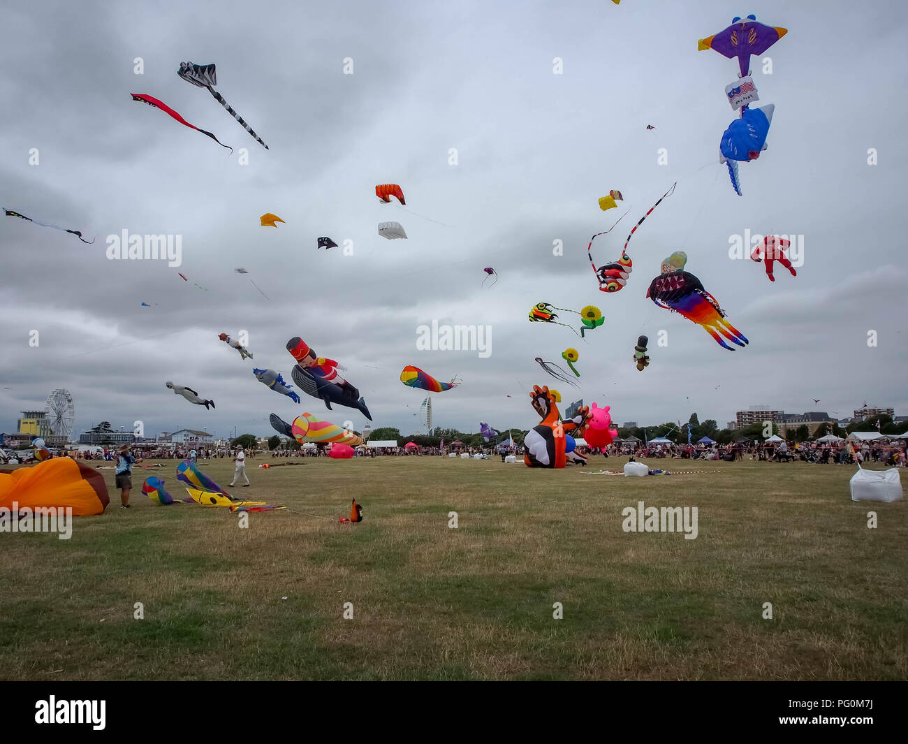 Large kites flying at Portsmouth international Kite Festival Stock Photo